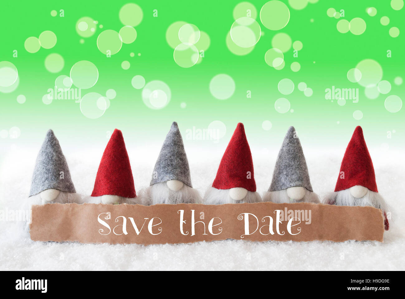 Gnomes, Green Background, Bokeh, English Text Save The Date Stock ...