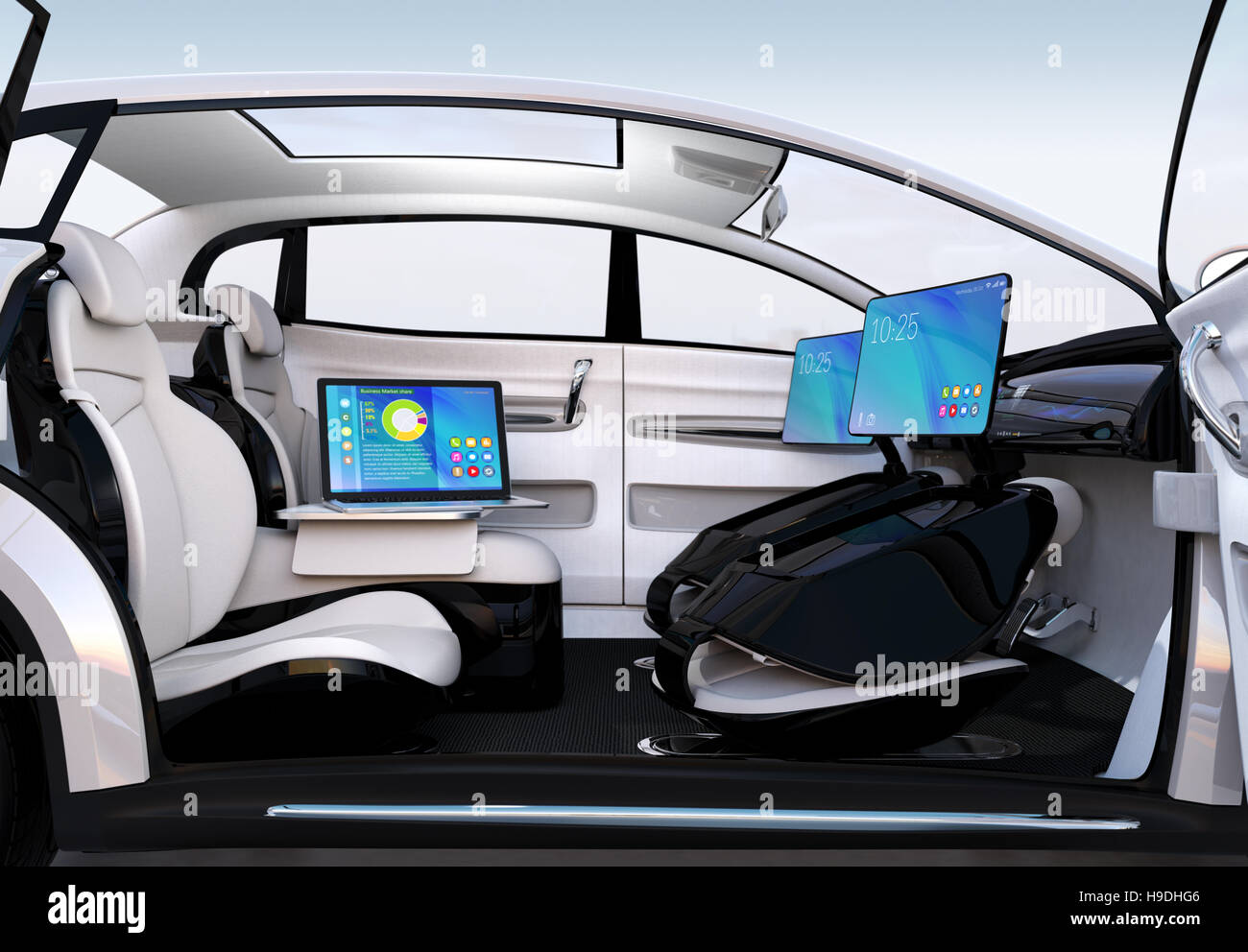 autonomous car interior concept laptop stock photos autonomous car interior concept laptop. Black Bedroom Furniture Sets. Home Design Ideas