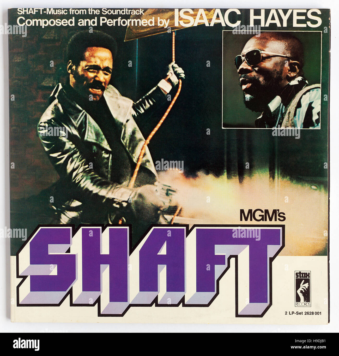Cover of the soundtrack to 'Shaft' music compsed and performed by Isaac Hayes - Stock Image
