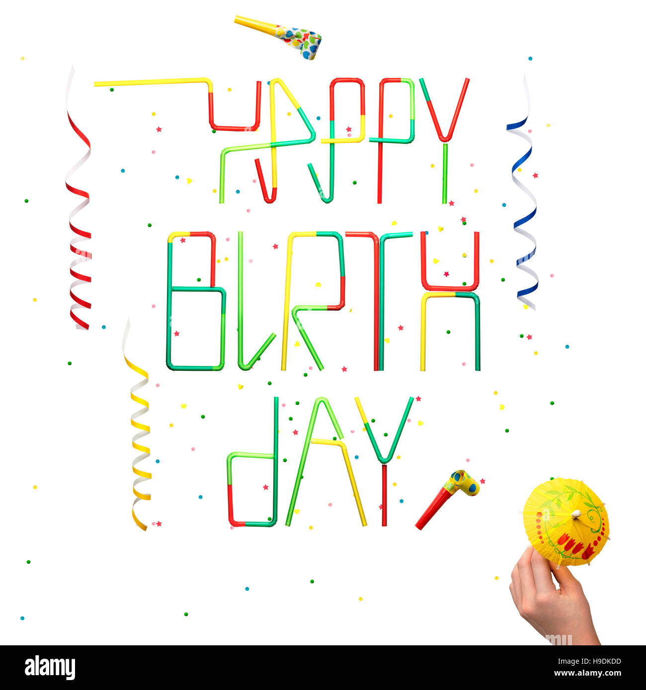 happy birthday banner cut out stock images pictures alamy