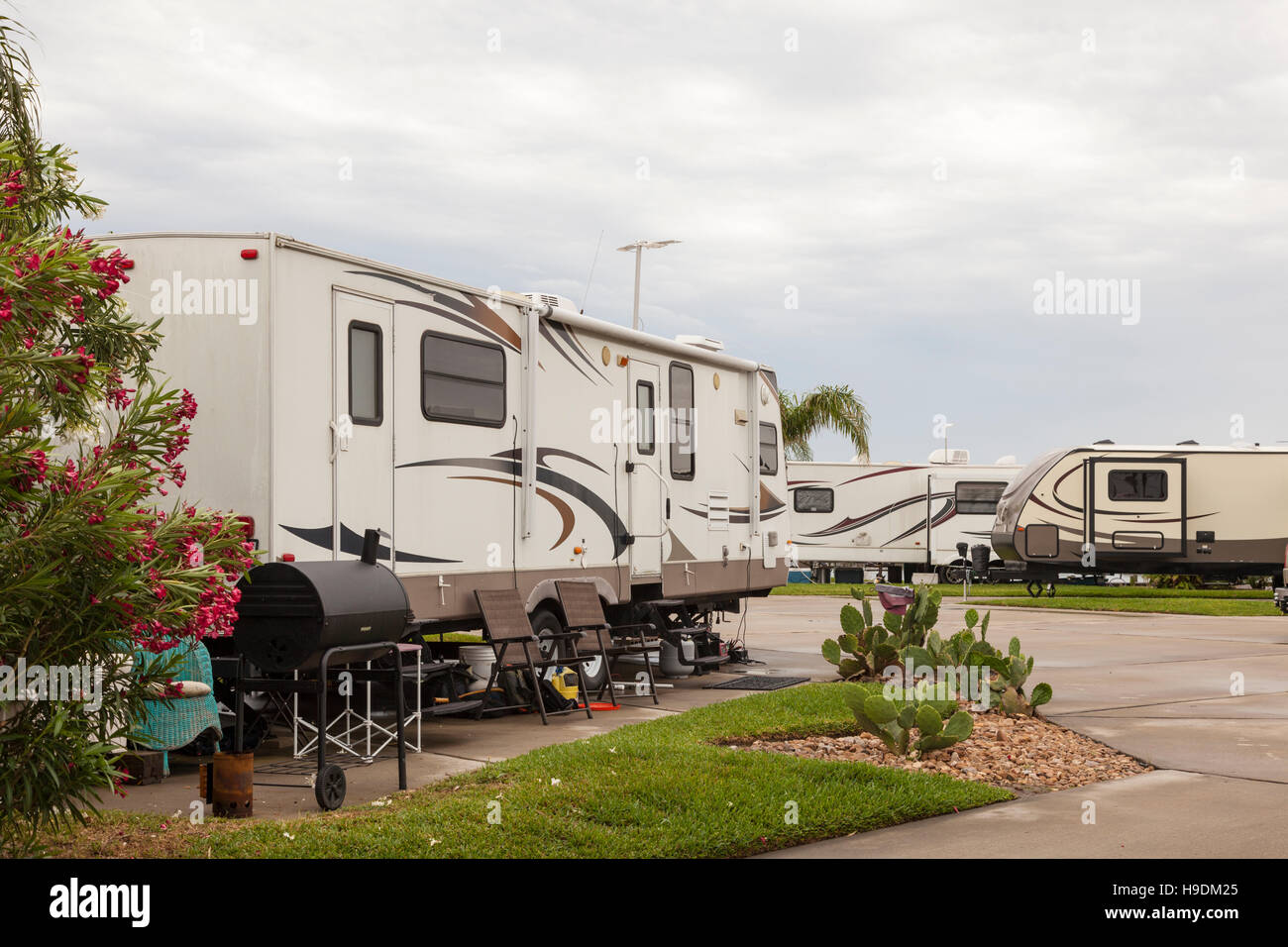 Recreational vehicles at a campsite rv park in southern united states - Stock Image