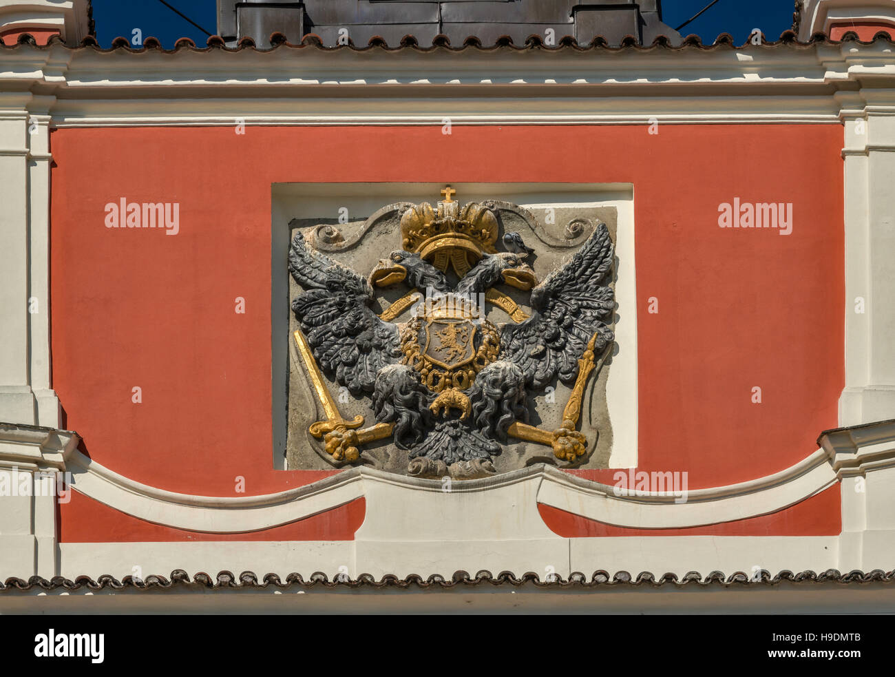 Double-headed eagle of Austrian Empire with lion of Bohemia, coat of arms at Old Town Hall in Chrudim, Bohemia, - Stock Image