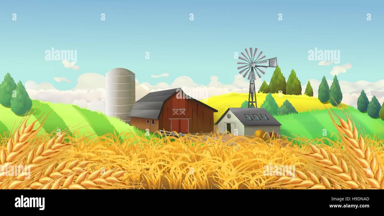 Wheat field. Farm landscape. Vector background - Stock Vector