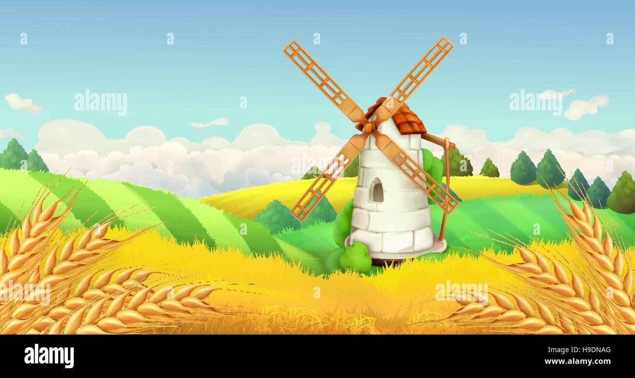 Wheat field. Windmill landscape. Horizontal background, vector - Stock Vector