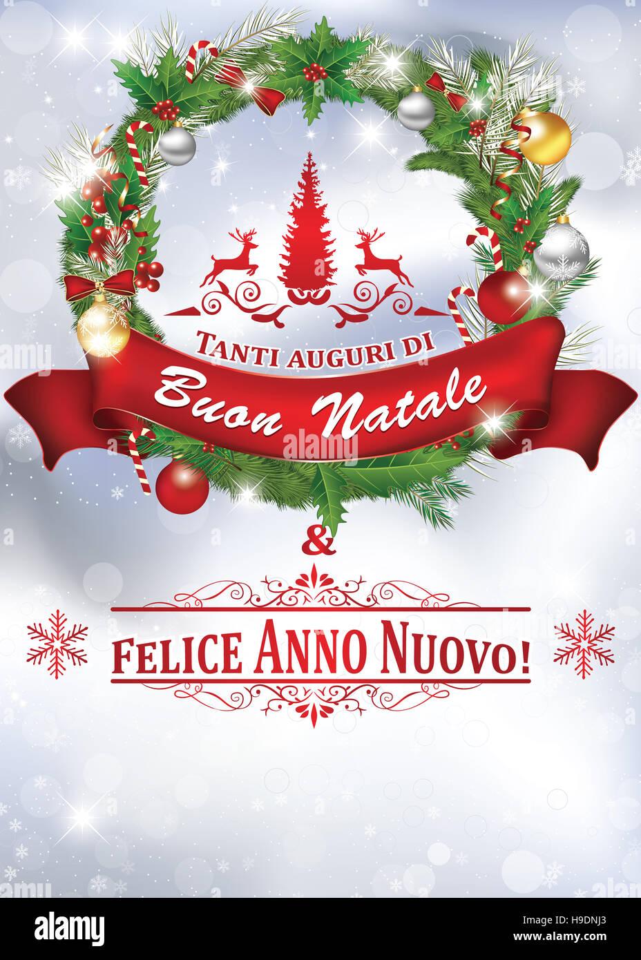 Auguri Di Buon Natale E Buon Anno.Tanti Auguri Di Buon Natale Felice Anno Nuovo Biglietto D Auguri Colori Di Stampa Stock Photo Alamy