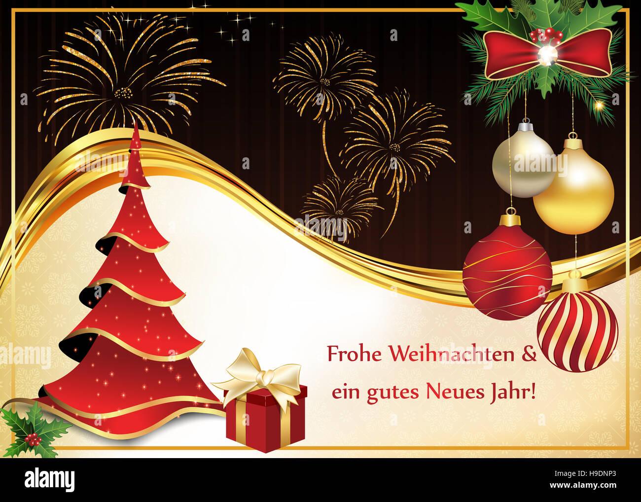 Frohe Weihnachten Und Ein Neues Jahr.Frohe Weihnachten Und Ein Gutes Neues Jahr Grusskarte Stock