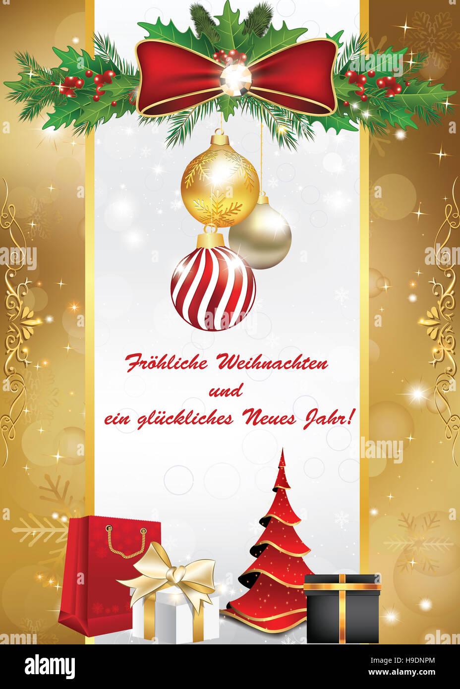 Fröhliche Weihnachten und ein Glückliches Neues Jahr Grußkarte Stock ...