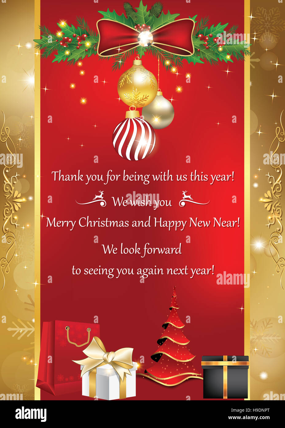Business card for winter holidays. Thank you for being with us this ...
