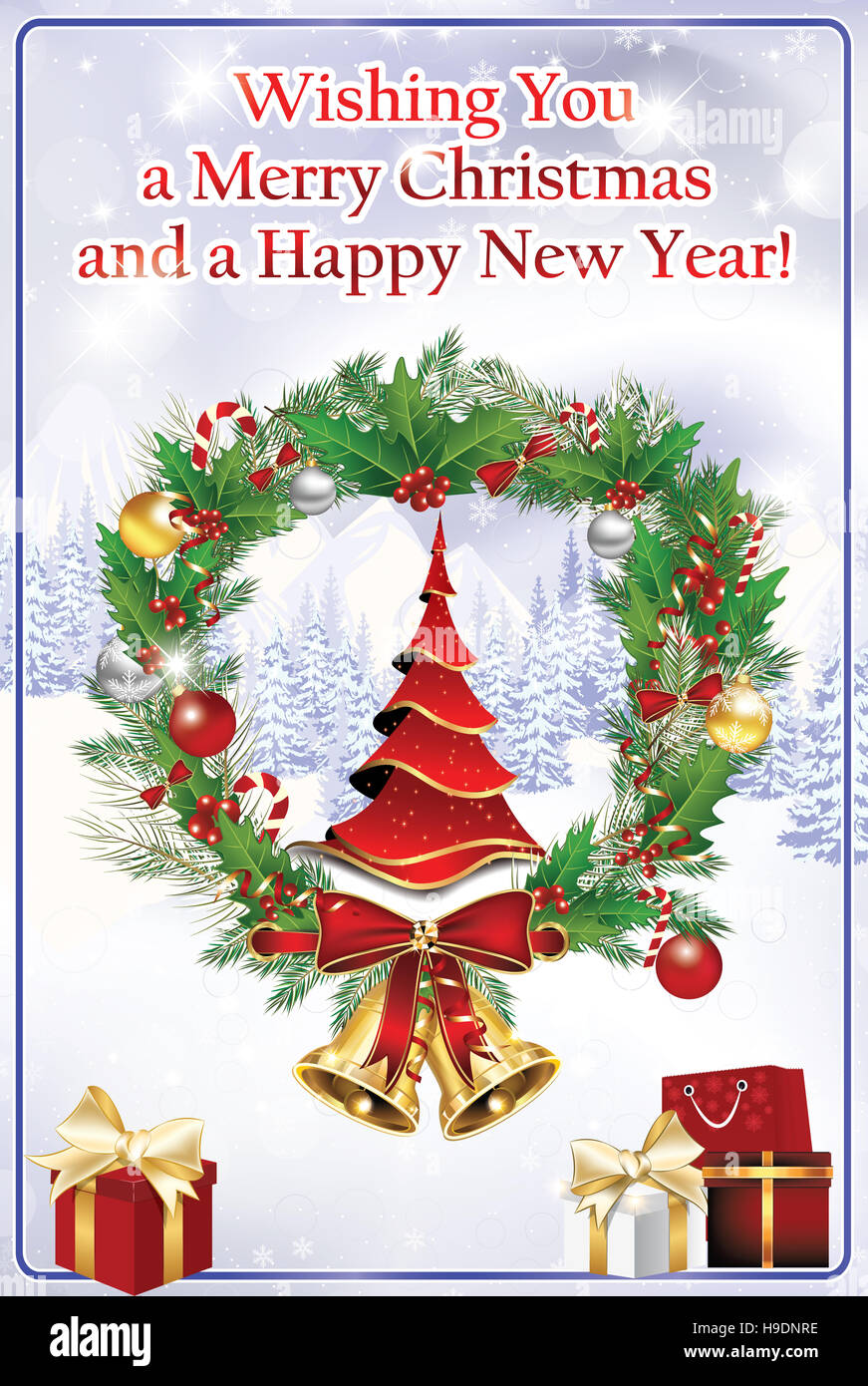 Elegant business winter holiday greeting card we wish you merry elegant business winter holiday greeting card we wish you merry christmas and a happy new year contains christmas baubles wre m4hsunfo