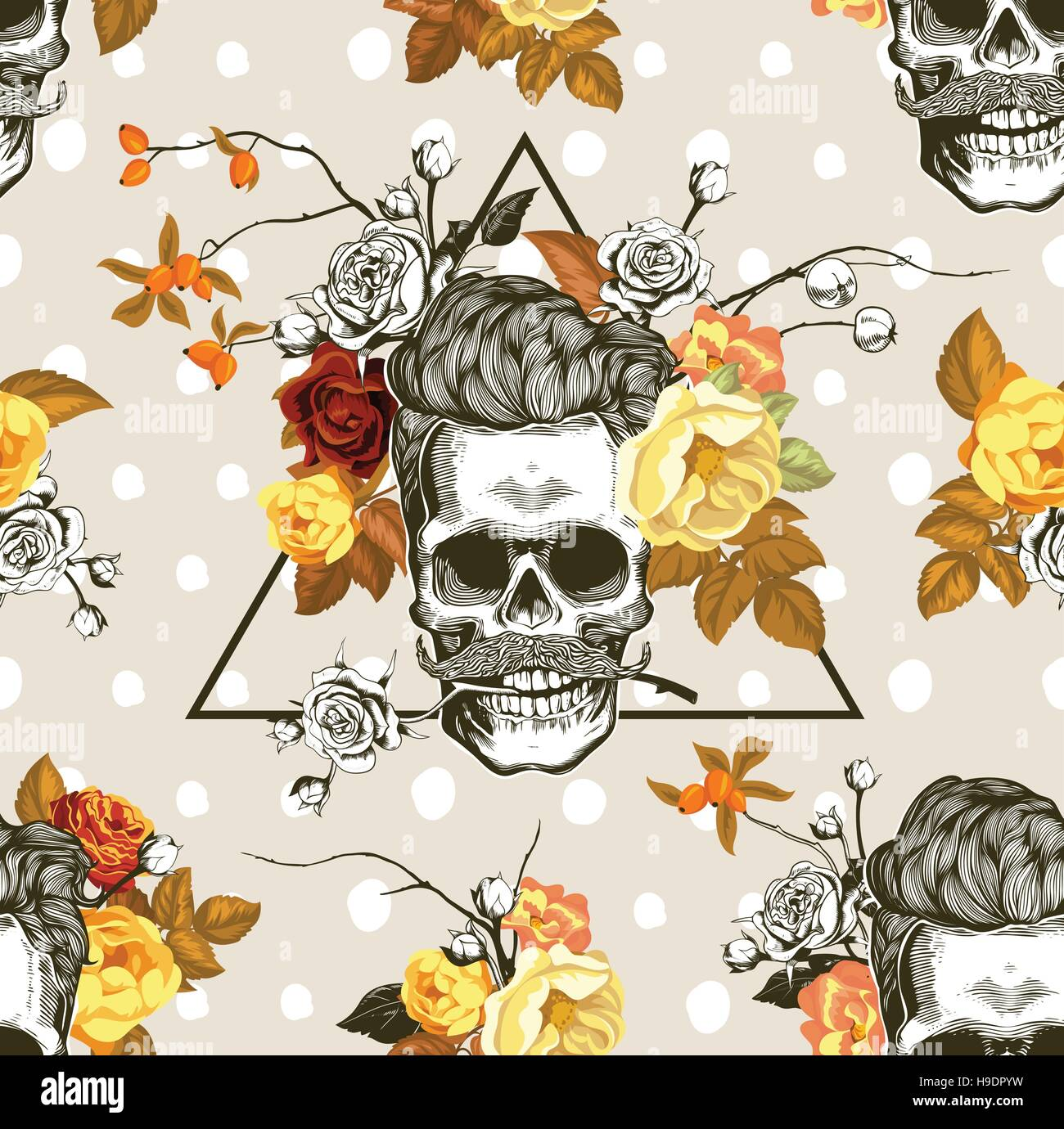 Hipster Seamless Pattern With The Skulls Autumn Flowers And Leaves In Background Skull Silhouette Engraving Style Vector