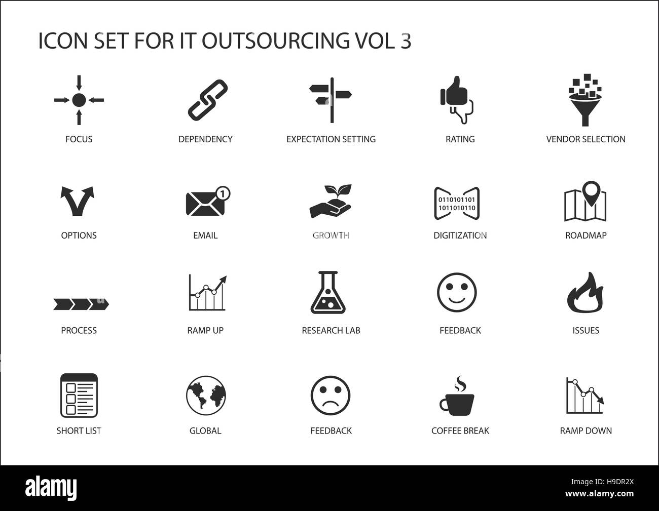 Various IT Outsourcing and offshore model vector icons for a global operating model - Stock Image