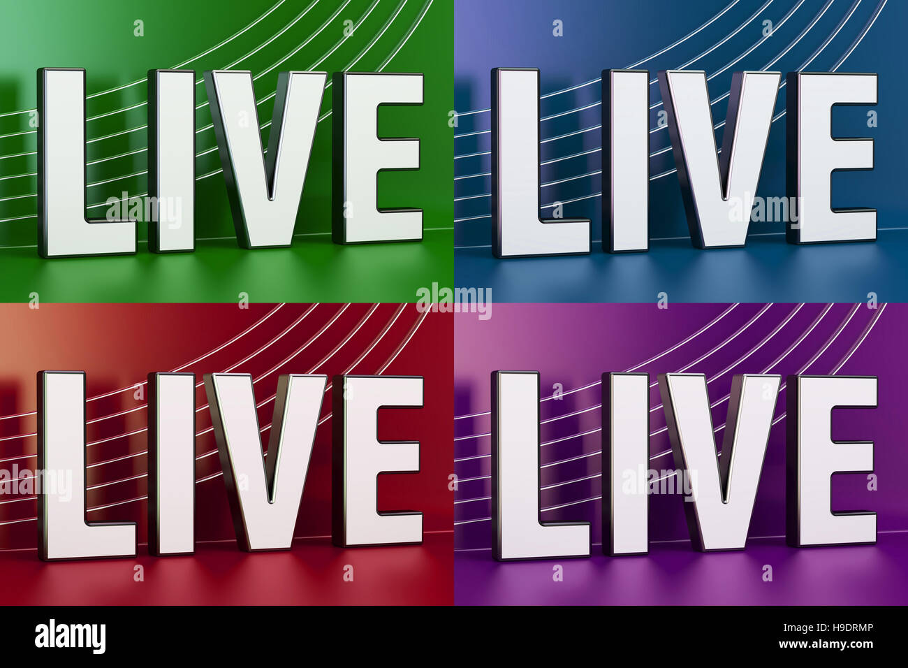 Live Television concept, tv screens, 3D rendering - Stock Image
