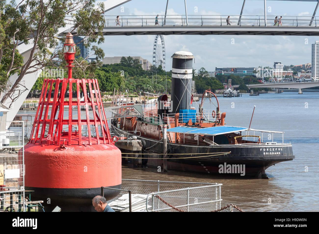 Steam tug 'Forceful' at Queensland Marine Museum Park, Kangaroo Point, Brisbane City, Brisbane, Queensland, - Stock Image
