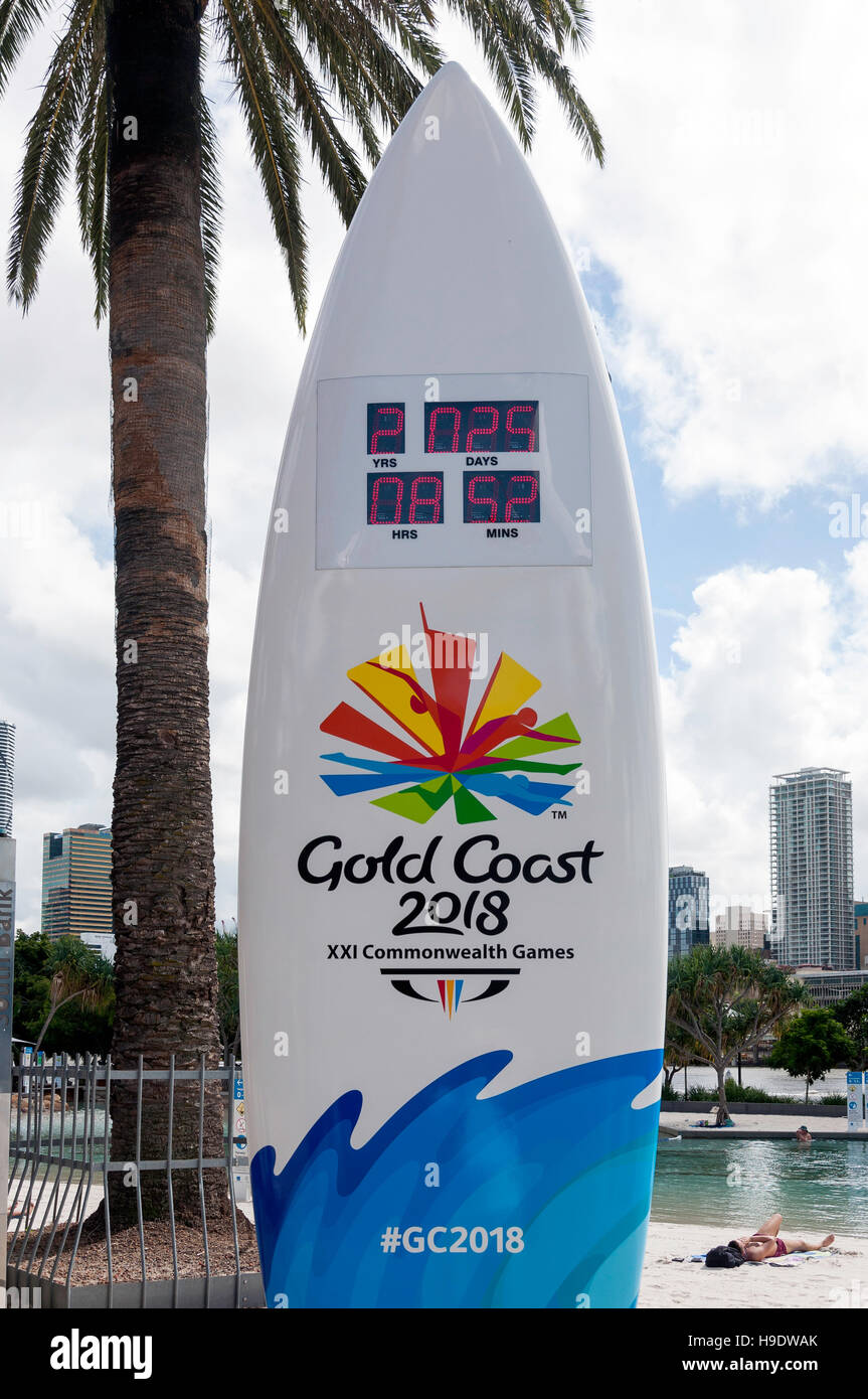 Surfboard with countdown clock to Gold Coast Commonwealth Games 2018, Streets Beach, South Bank, Brisbane, Queensland, - Stock Image