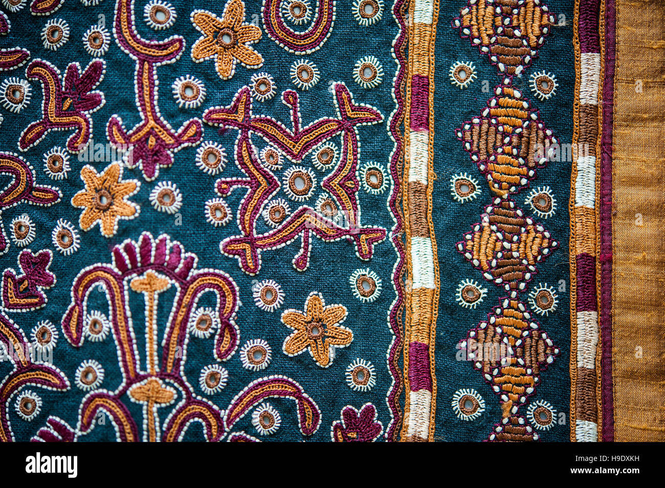 An intricate embroidery at Qasab, a craft woman's cooperative, by the tribal people living along the edges of - Stock Image