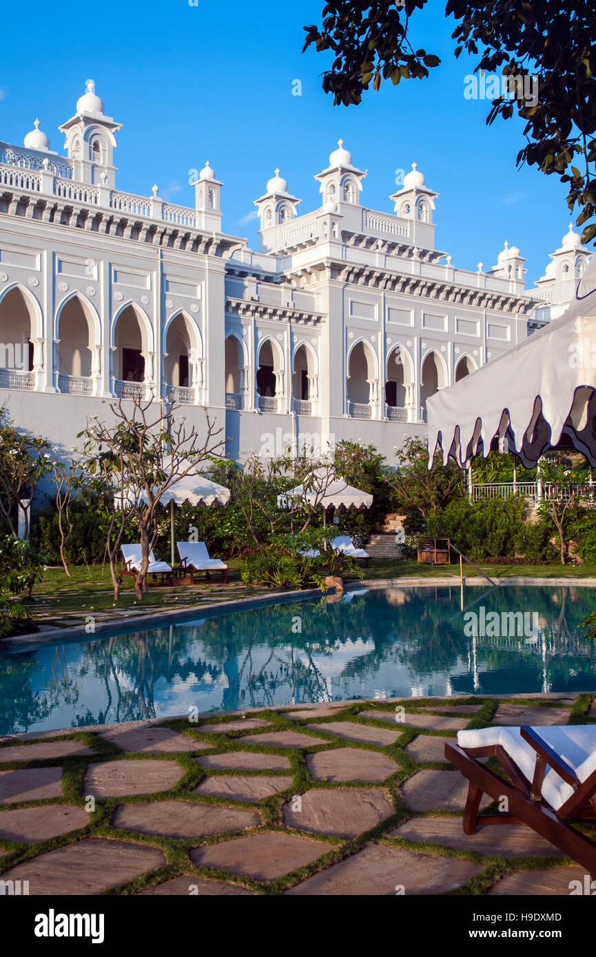 The Swimming Pool At Falaknuma Palace Hotel In Hyderabad India A Stock Photo 126310813 Alamy