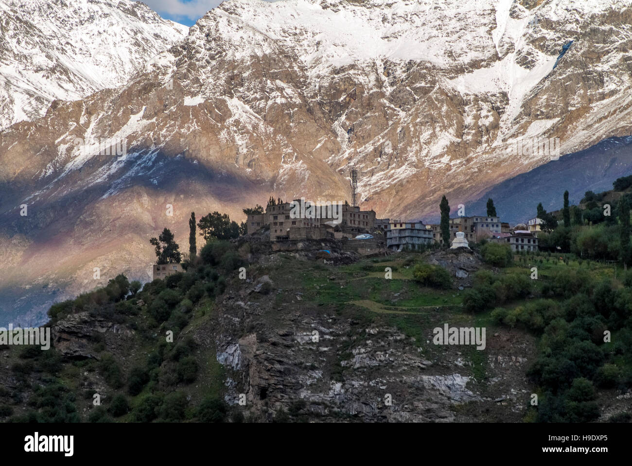 The Khardung Monastery, a Buddhist temple which sits along the Leh-Manali Highway, in Keylong in Himachal Pradesh. - Stock Image