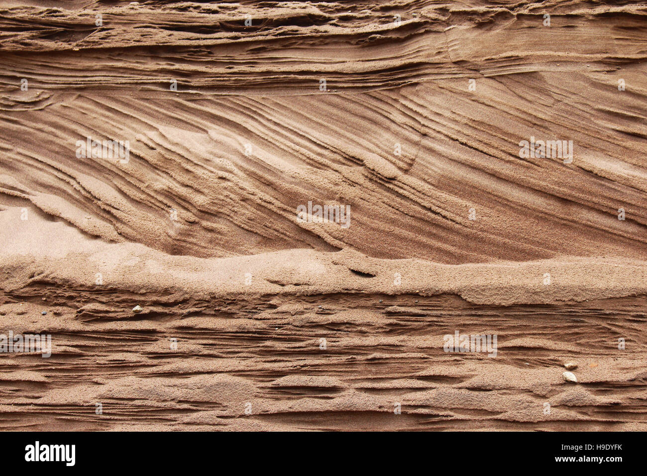Cross bedding is displayed in this sand embankment at the Great Sand Dunes National Park in Colorado. - Stock Image