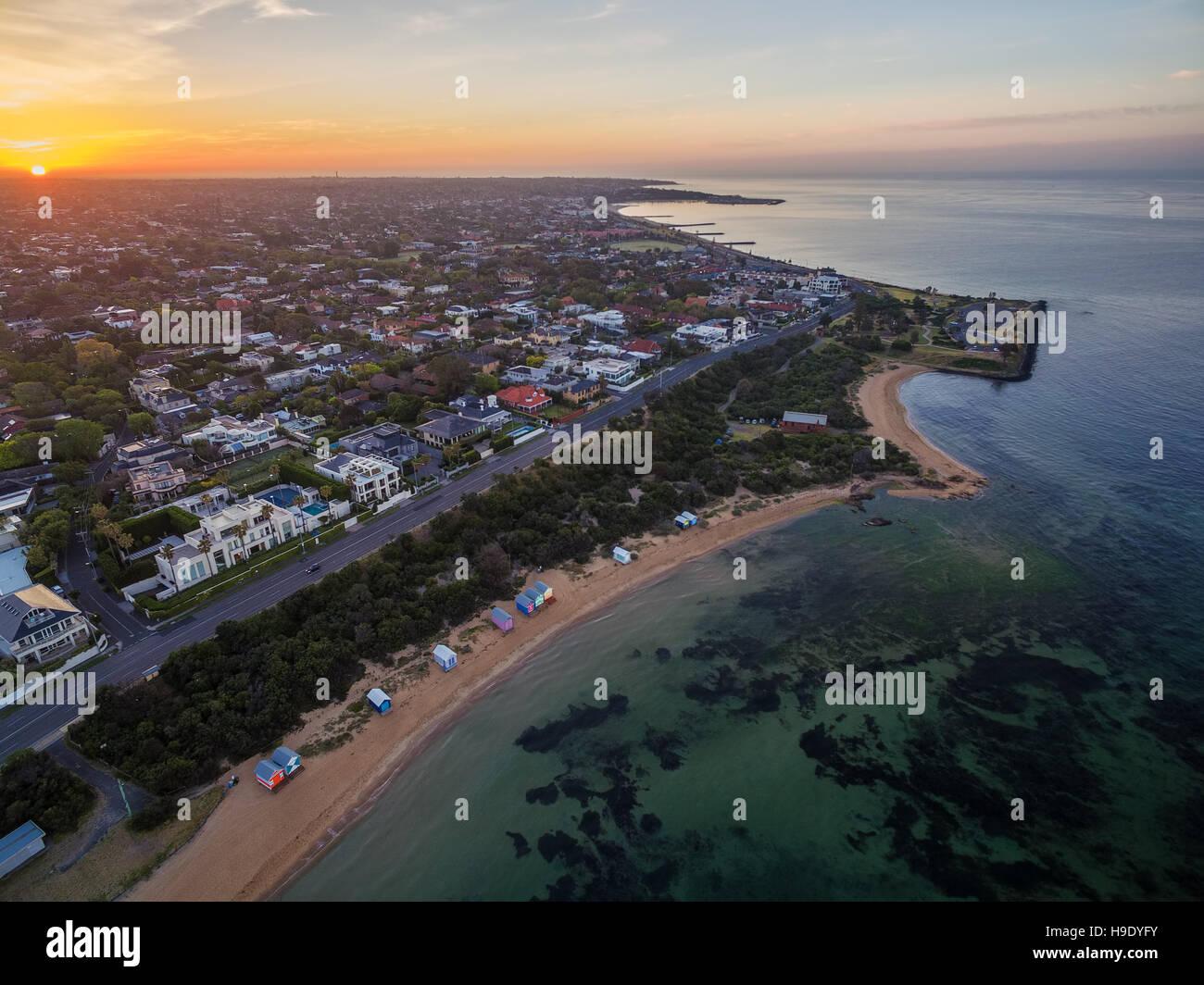 Aerial view of sunrise at Brighton Beach coastline. Melbourne, Victoria, Australia. - Stock Image