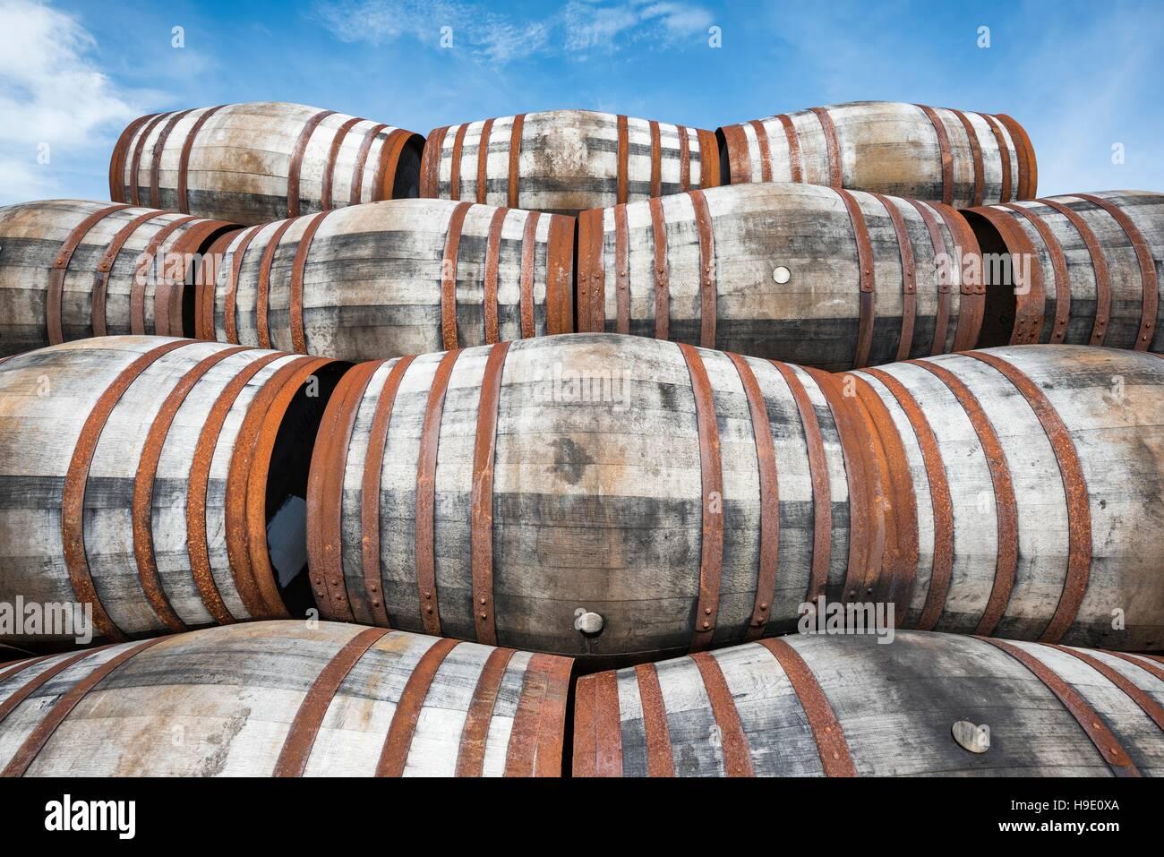 Whisky barrels, Islay, Inner Hebrides, Scotland, United Kingdom - Stock Image