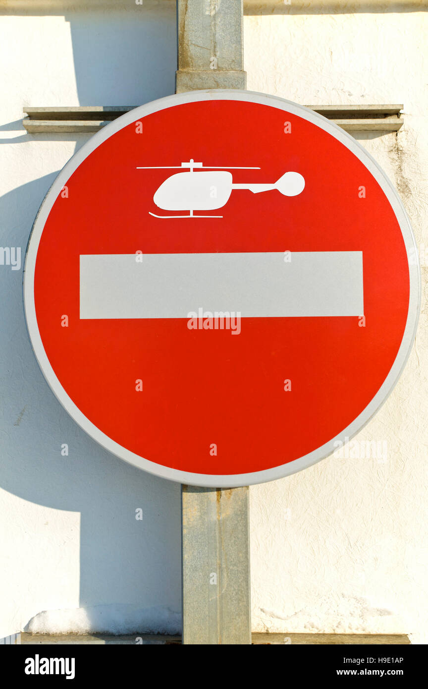 No entry, helicopter, sign - Stock Image