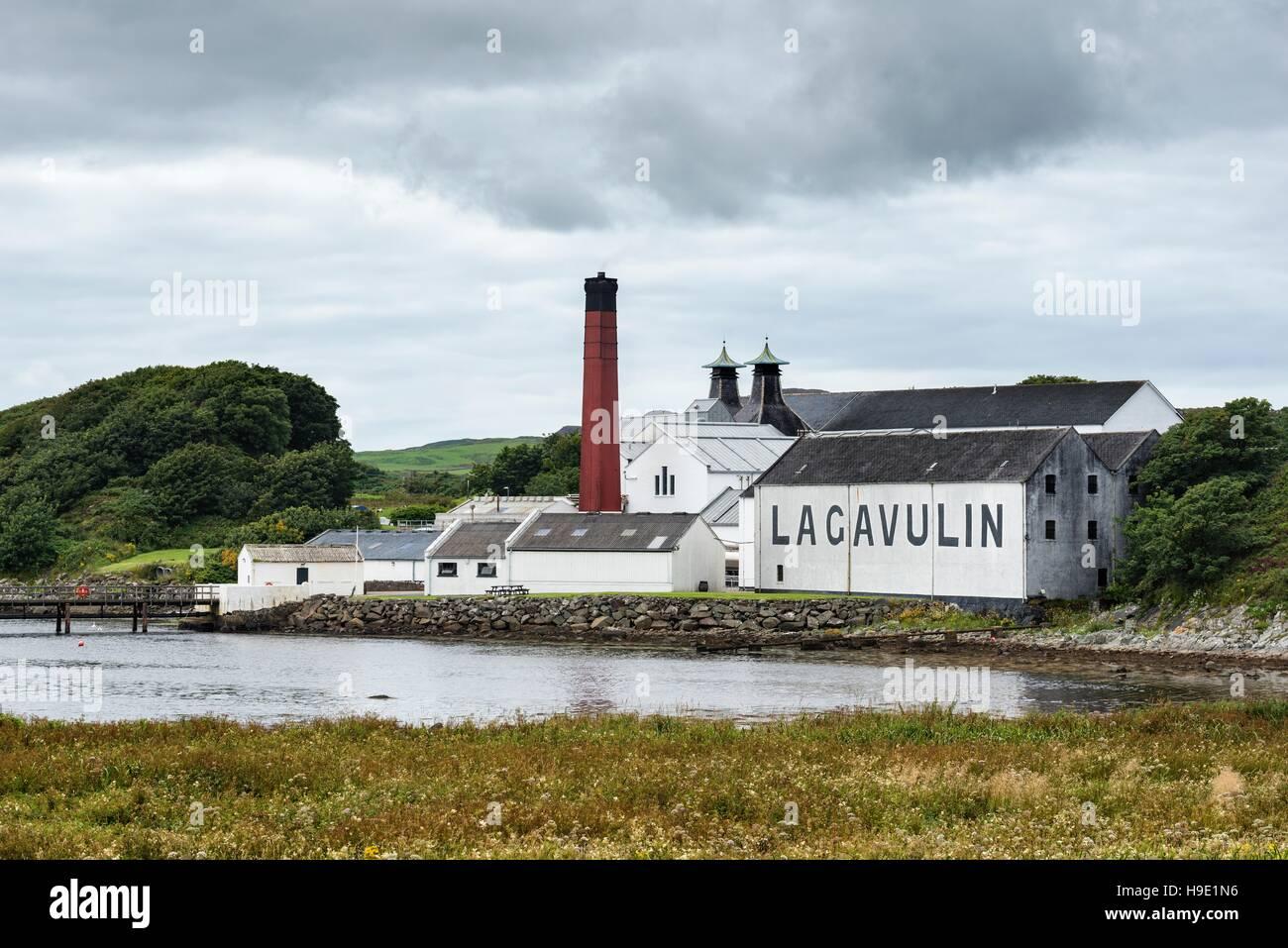 Lagavulin whiskey distillery, Islay, Inner Hebrides, Scotland, United Kingdom - Stock Image
