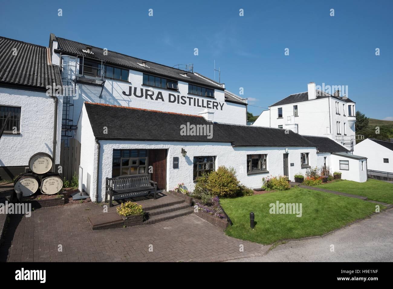 Jura whiskey distillery, Jura, Inner Hebrides, Scotland, United Kingdom - Stock Image
