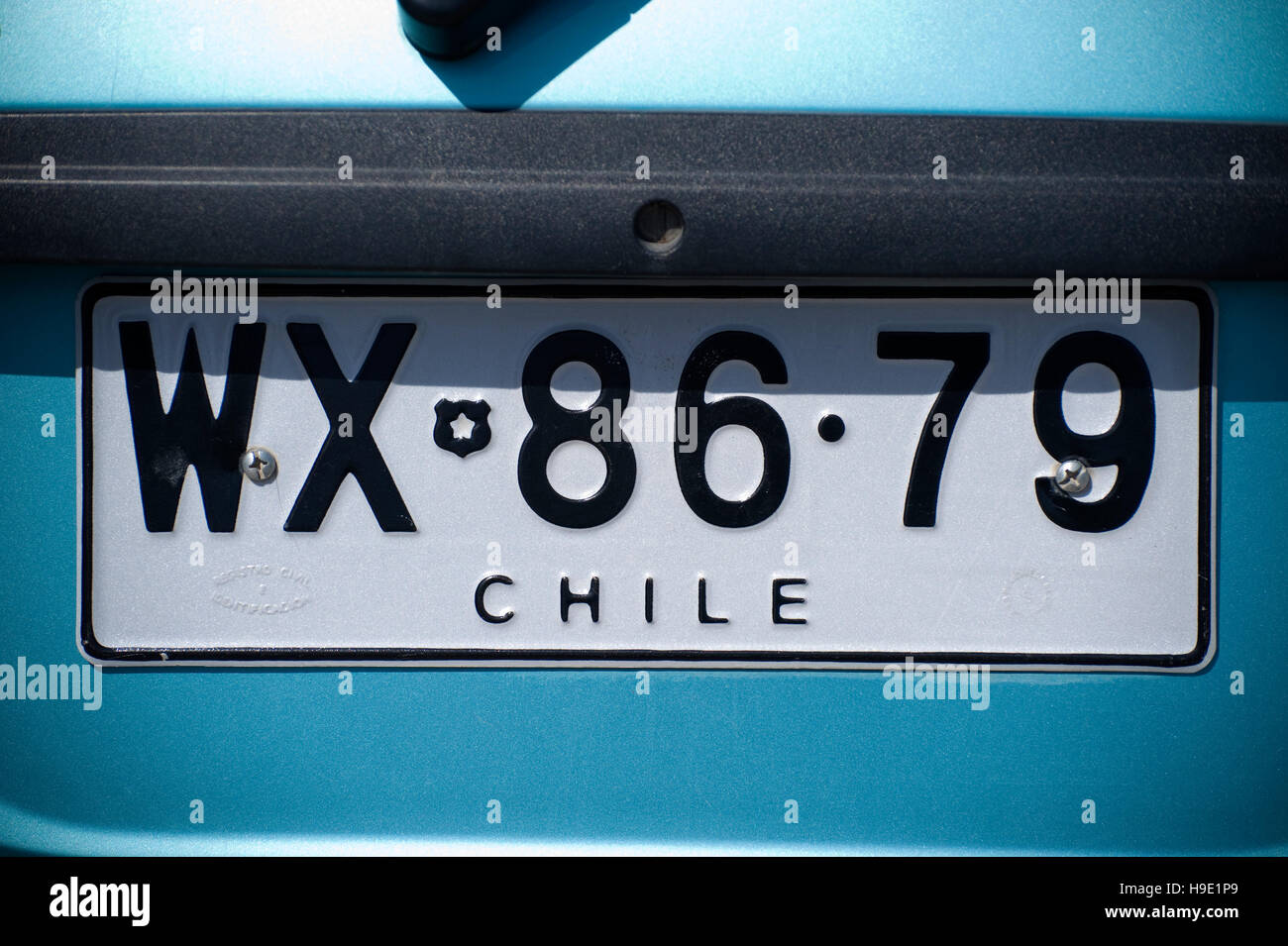 License plate number, Chile, South America Stock Photo