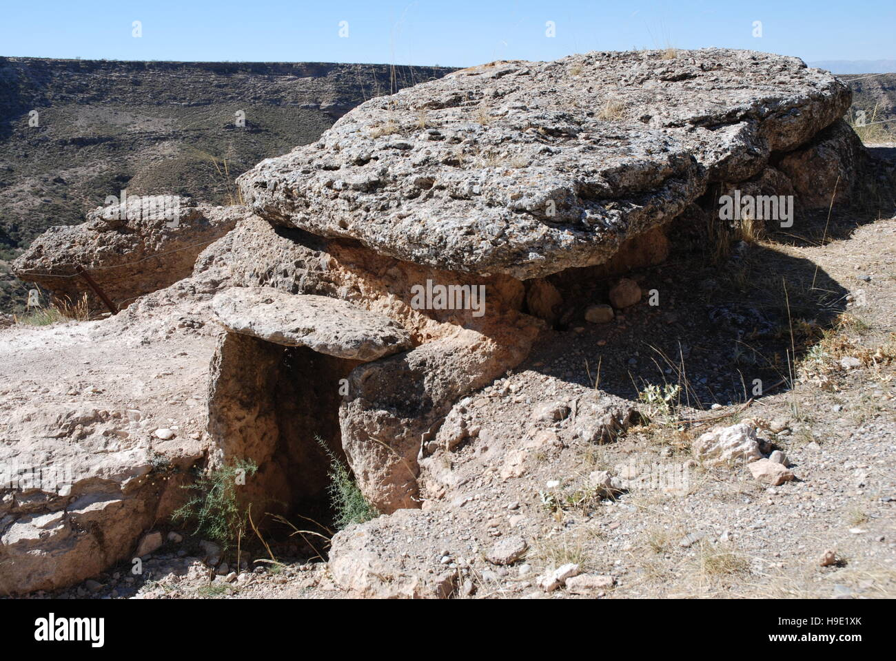 Part of the necropolis of burial tombs and Dolmen in the town of Gorafe near Granada Andalucia Spain. - Stock Image