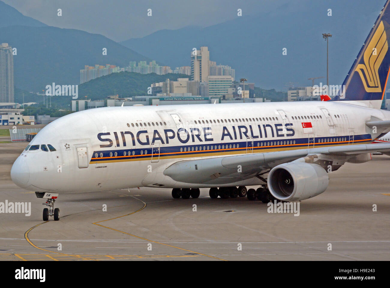 Airbus A 380 arriving in Hong Kong international airport China - Stock Image