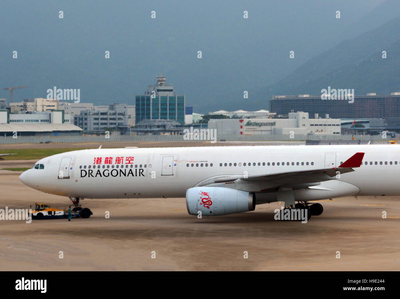 Airbus A 330 airplane of Dragonair arriving in Hong Kong international airport China - Stock Image