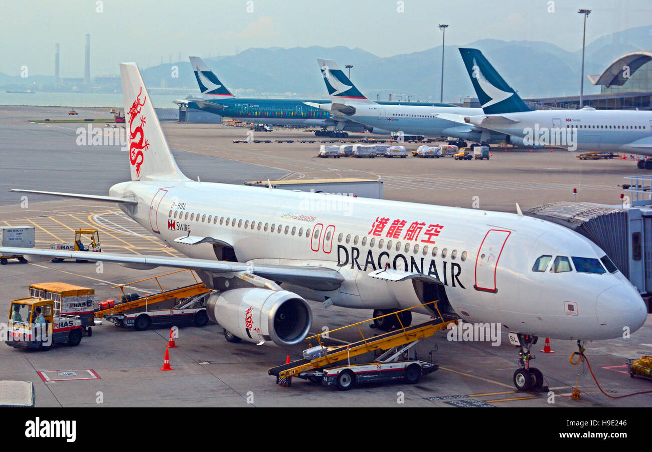 Airbus A 320-232 of Dragonair Hong Kong international airport - Stock Image
