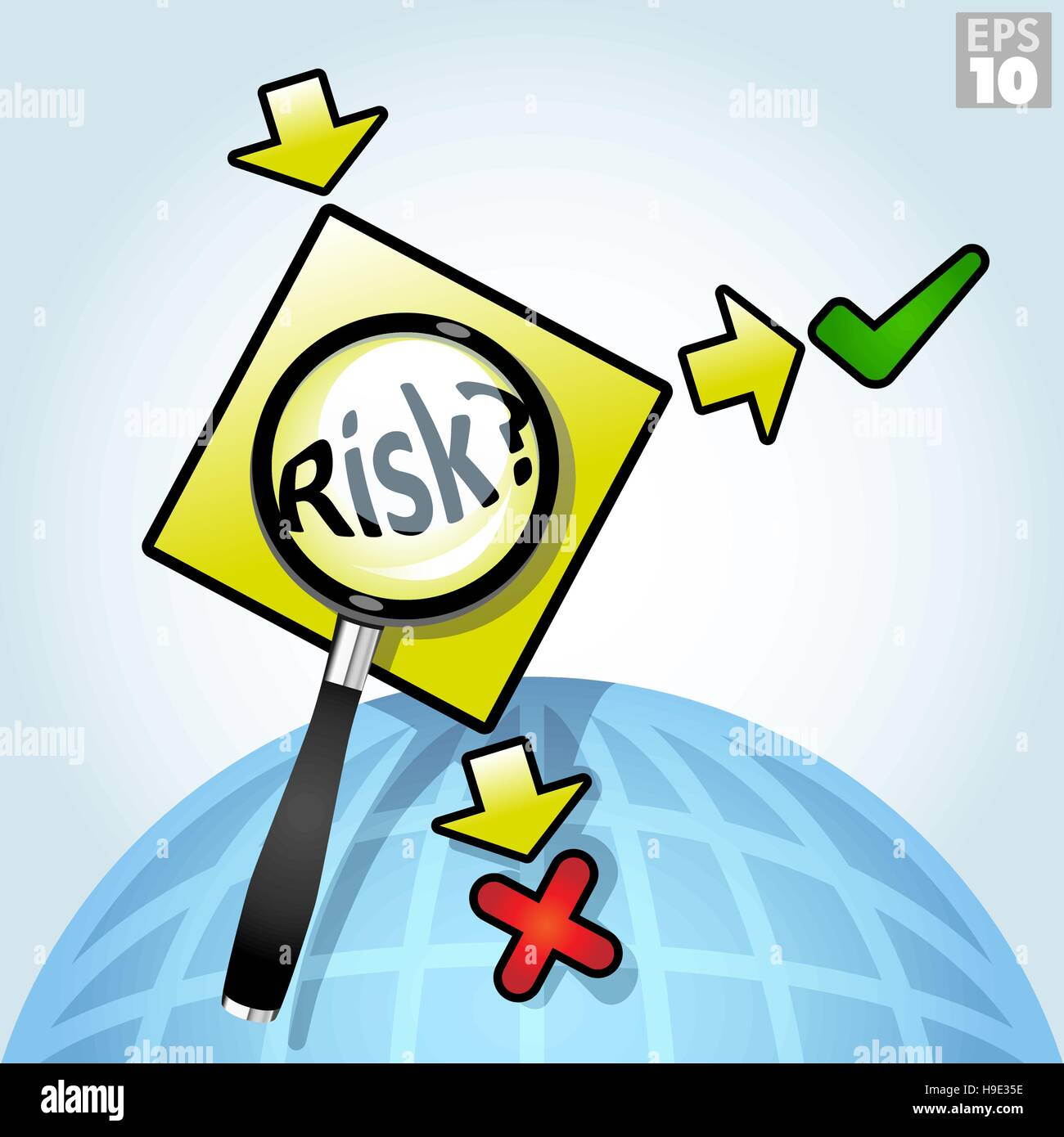 Global right or wrong choices, includes a magnifying glass emphasizing risk and yes or no options - Stock Image