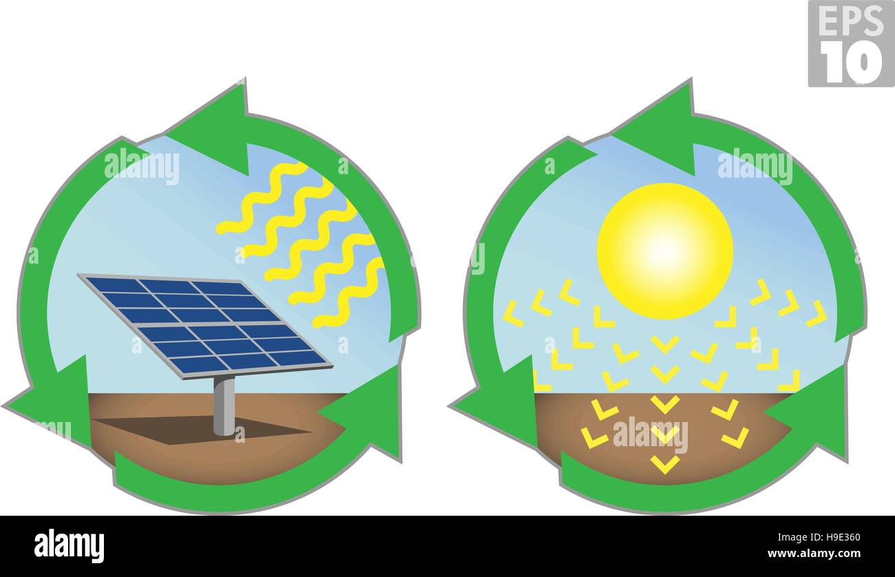 Solar energy, sun panels, clean power - Stock Vector