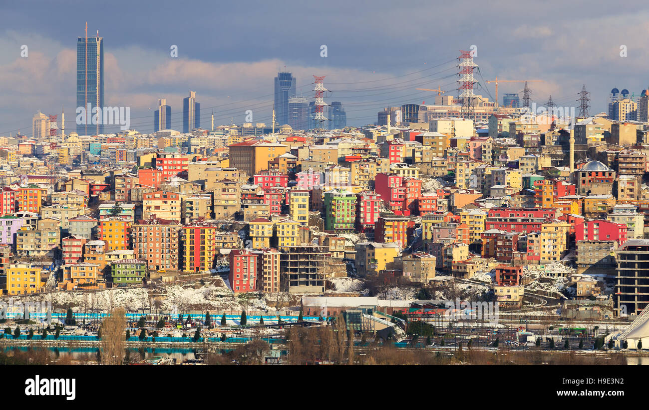 unplanned urbanization is a great problem for metropolis like Istanbul city - Stock Image