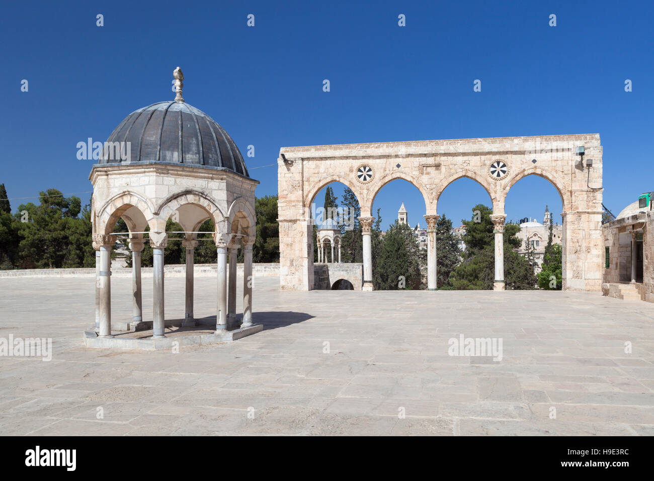 The arches at the top of the stairs of scales of souls, temple mount, Jerusalem, Palestine - Stock Image