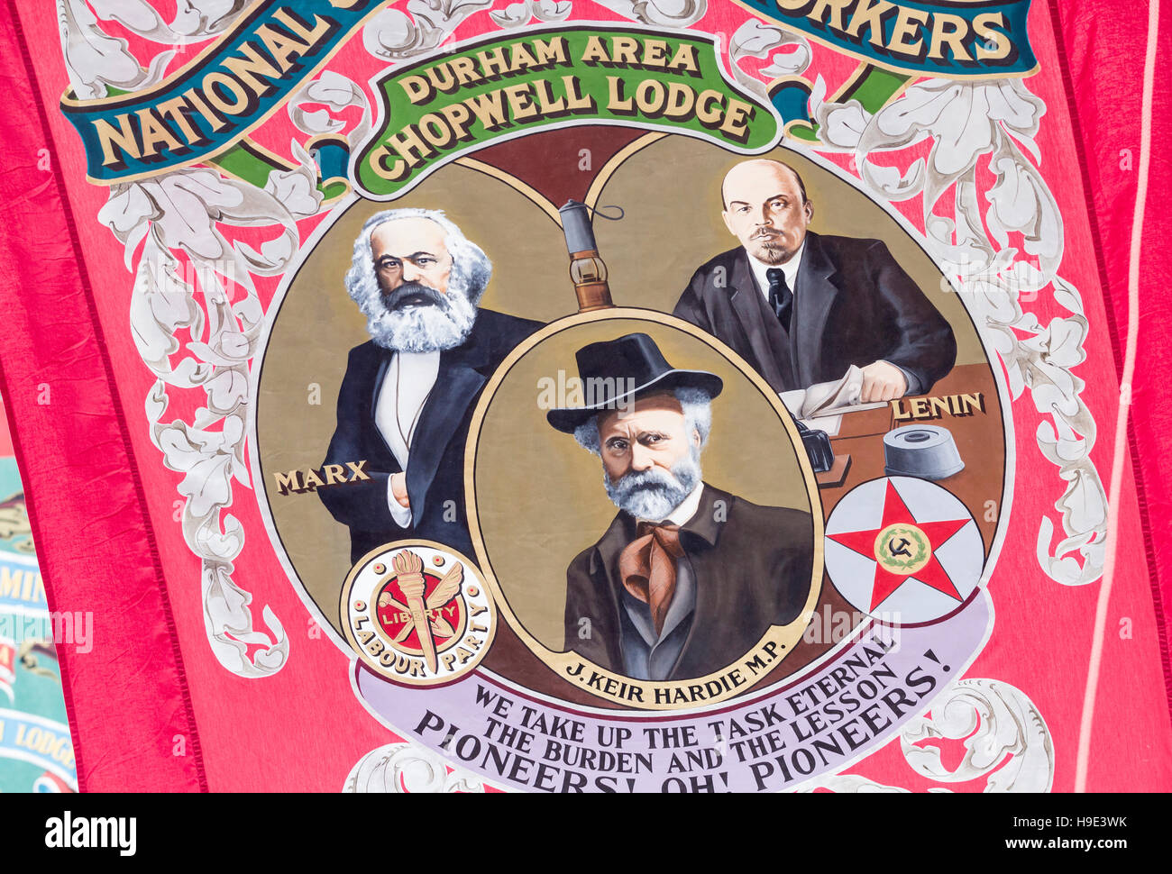 James Keir Hardie, Karl Marx and Lenin on banner at Durham Miner`s Gala. Durham. England. UK - Stock Image
