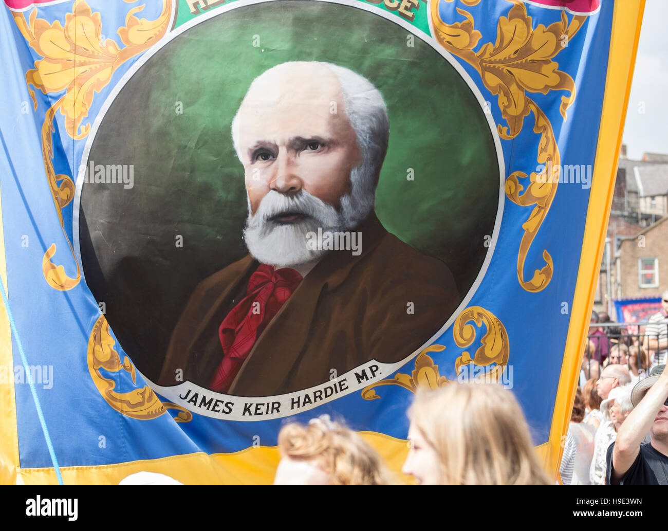 James Keir Hardie on banner at Durham Miner`s Gala. Durham. England. UK - Stock Image