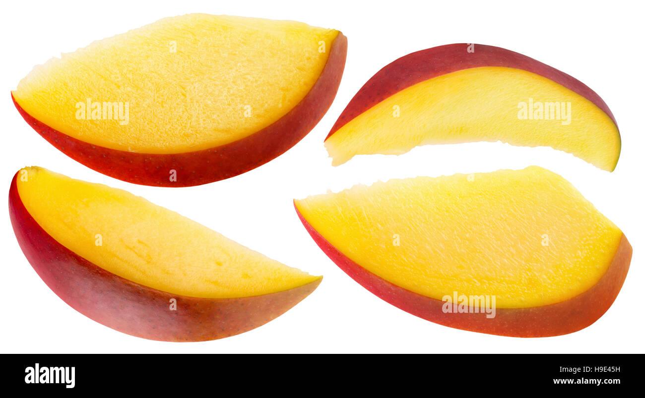 mango slices isolated on the white background. - Stock Image