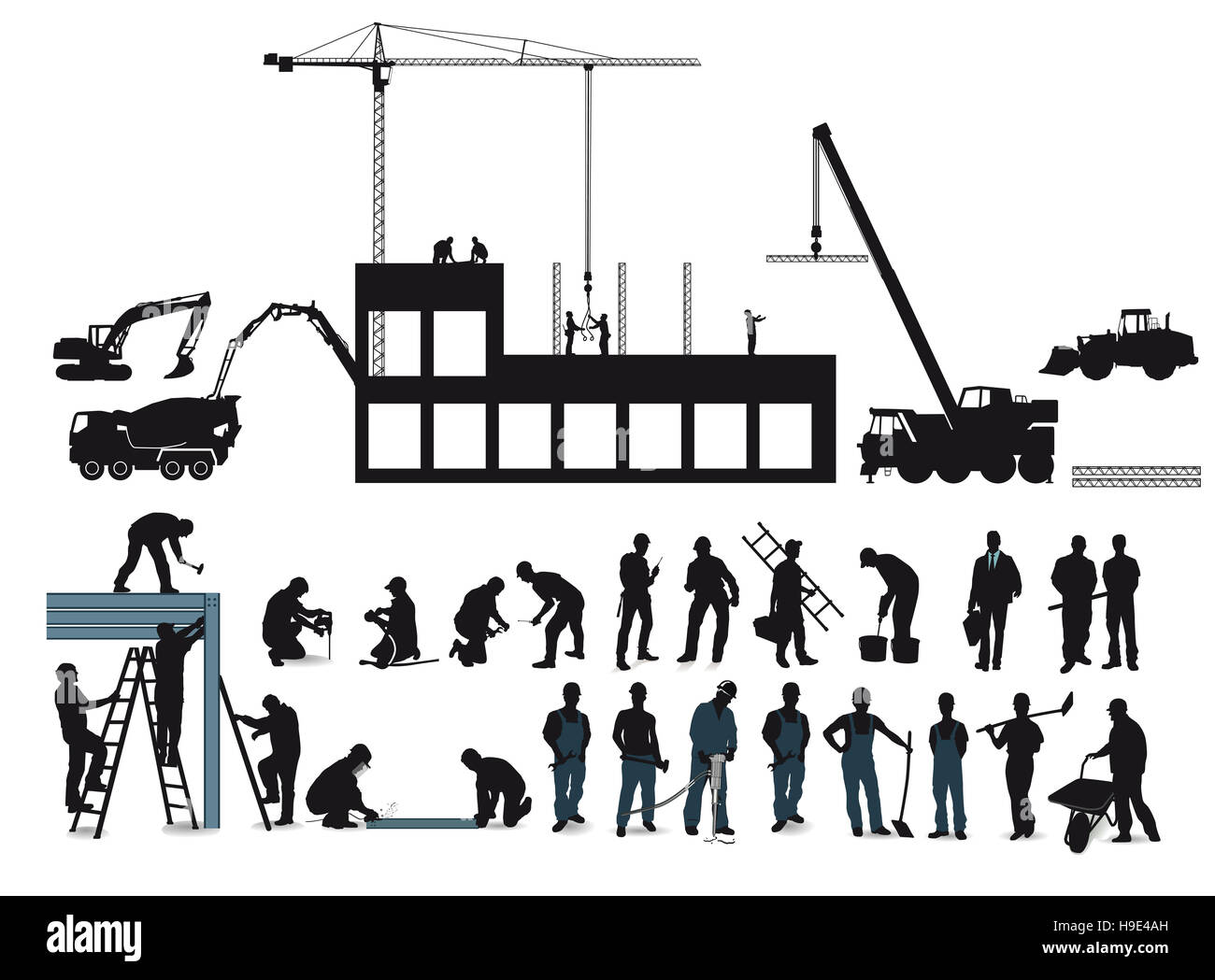 Construction project with construction workers Stock Photo