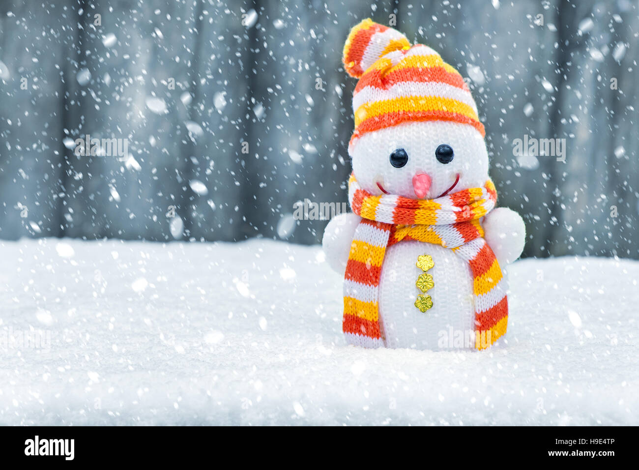 cute snowman in the snow christmas card happy snowman toy on the