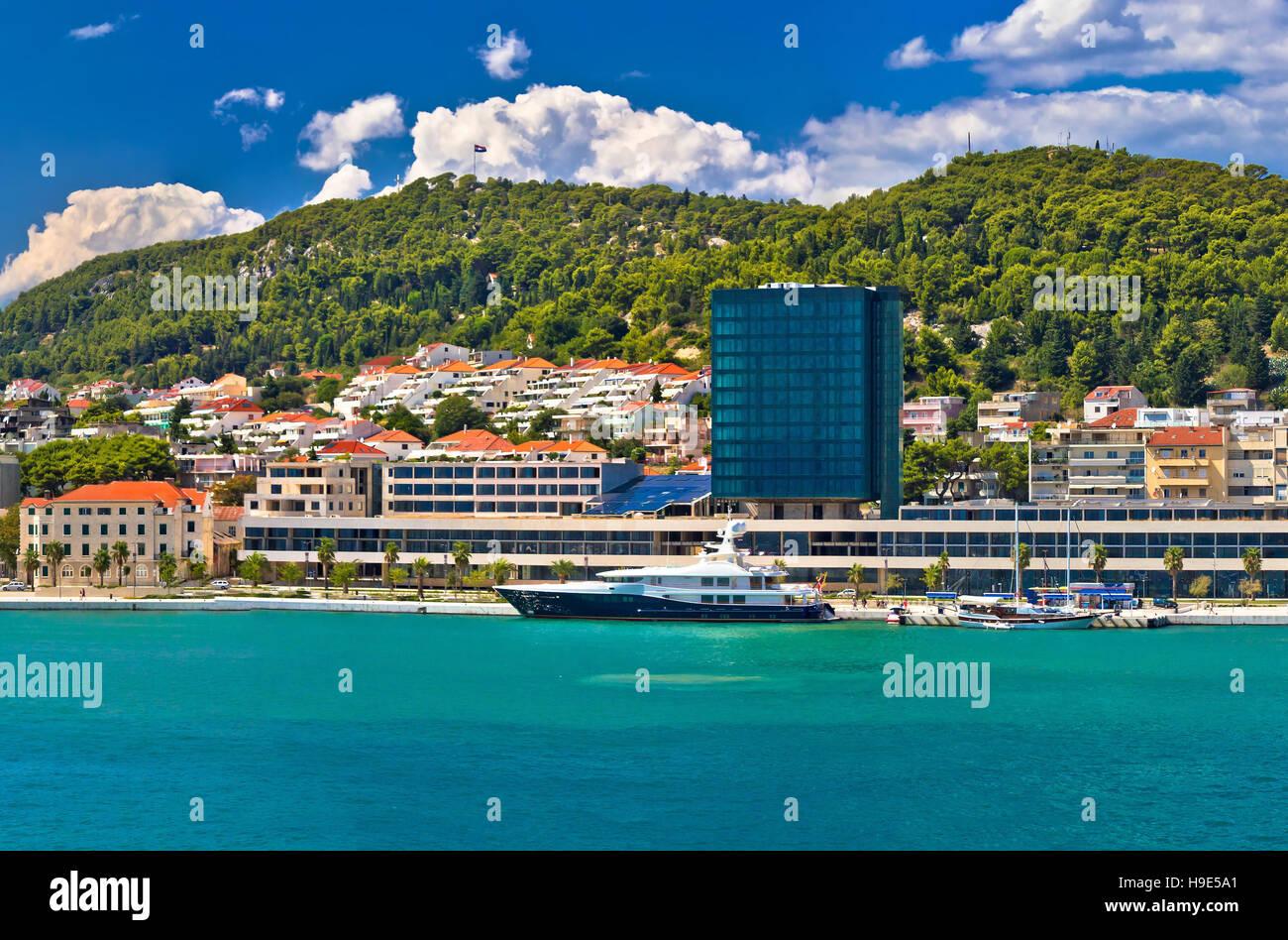 Yachting waterfront of Split and Marjan hill view, Dalmatia, Croatia - Stock Image