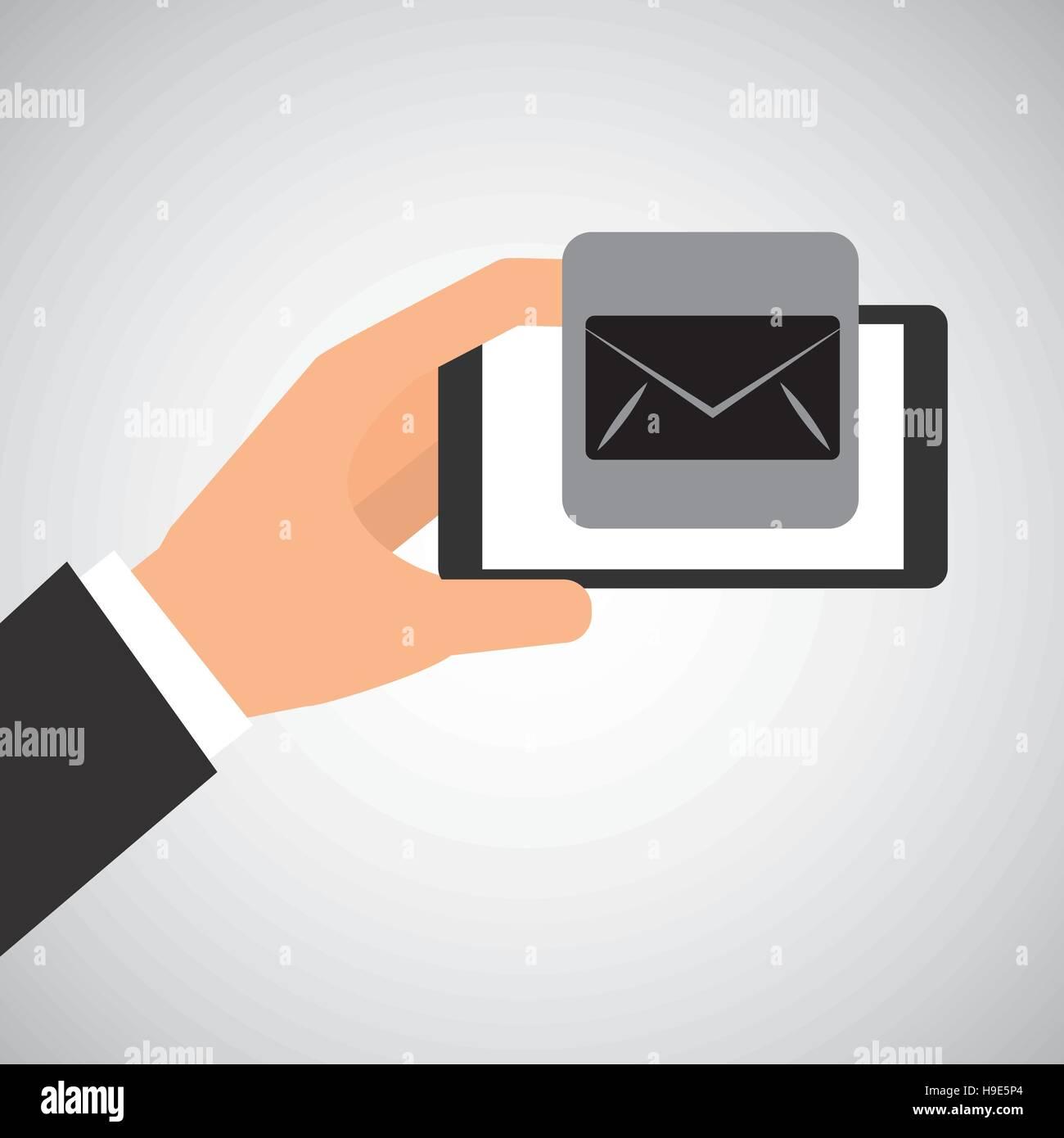 hand holding smartphone email envelope vector illustration eps 10 - Stock Image