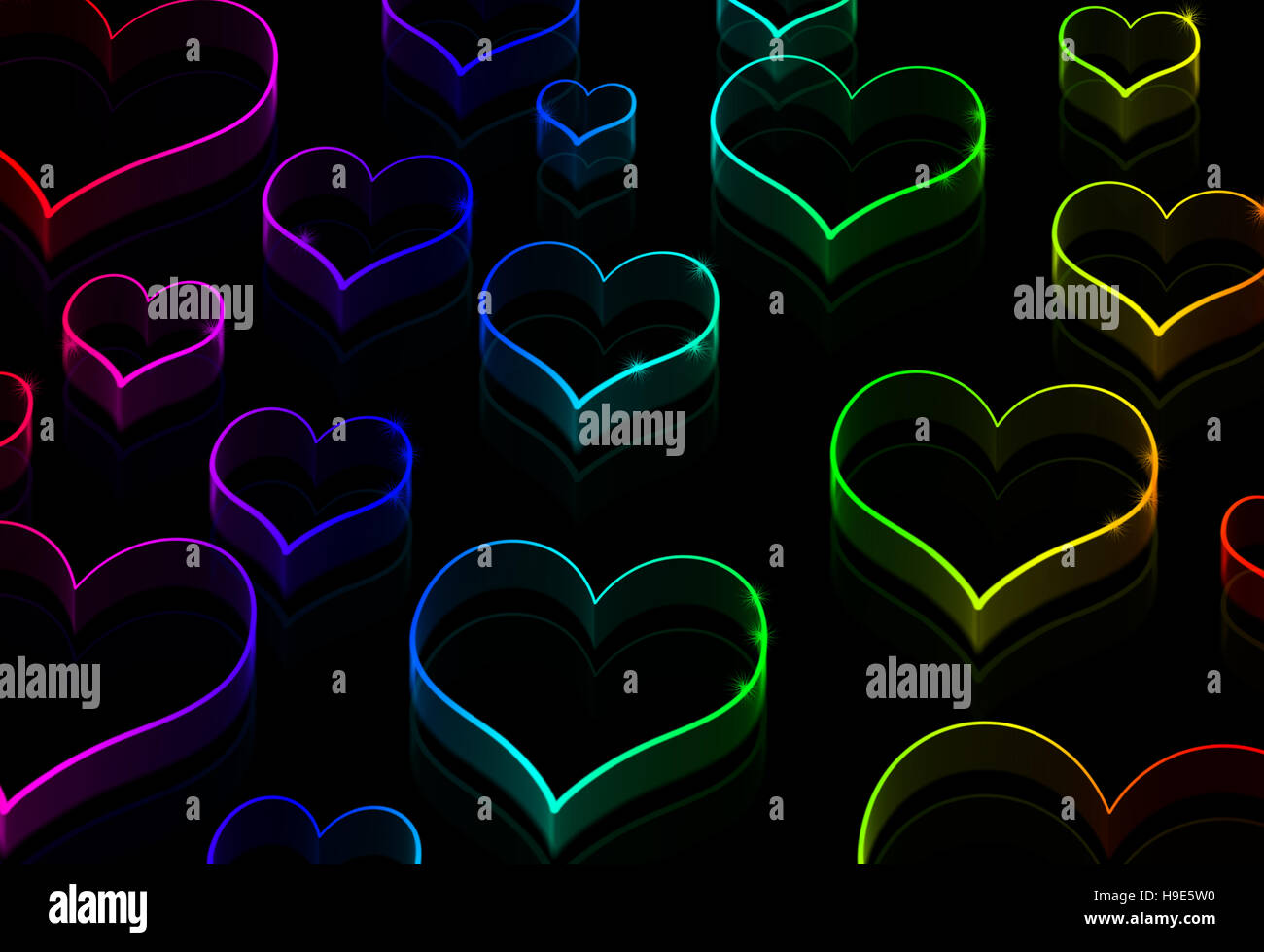 Neon hearts on the black - Love background - Stock Image