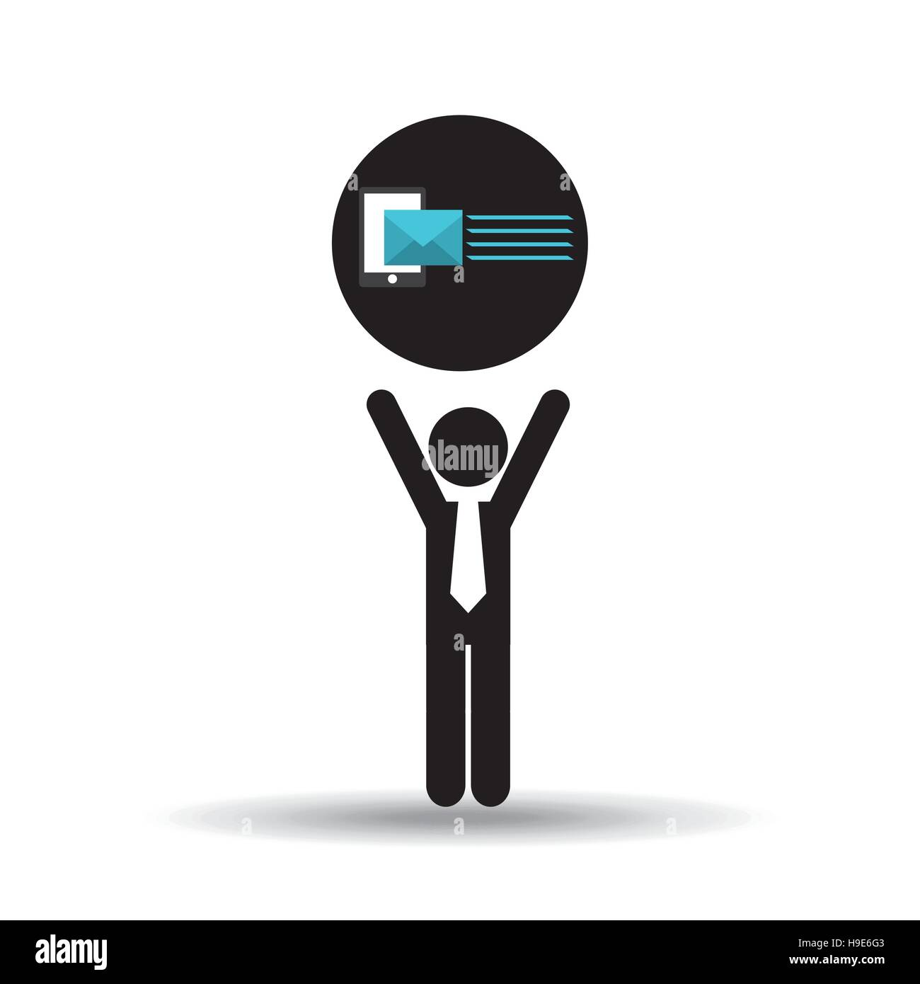 silhouette man with email send message vector illustration eps 10 - Stock Image