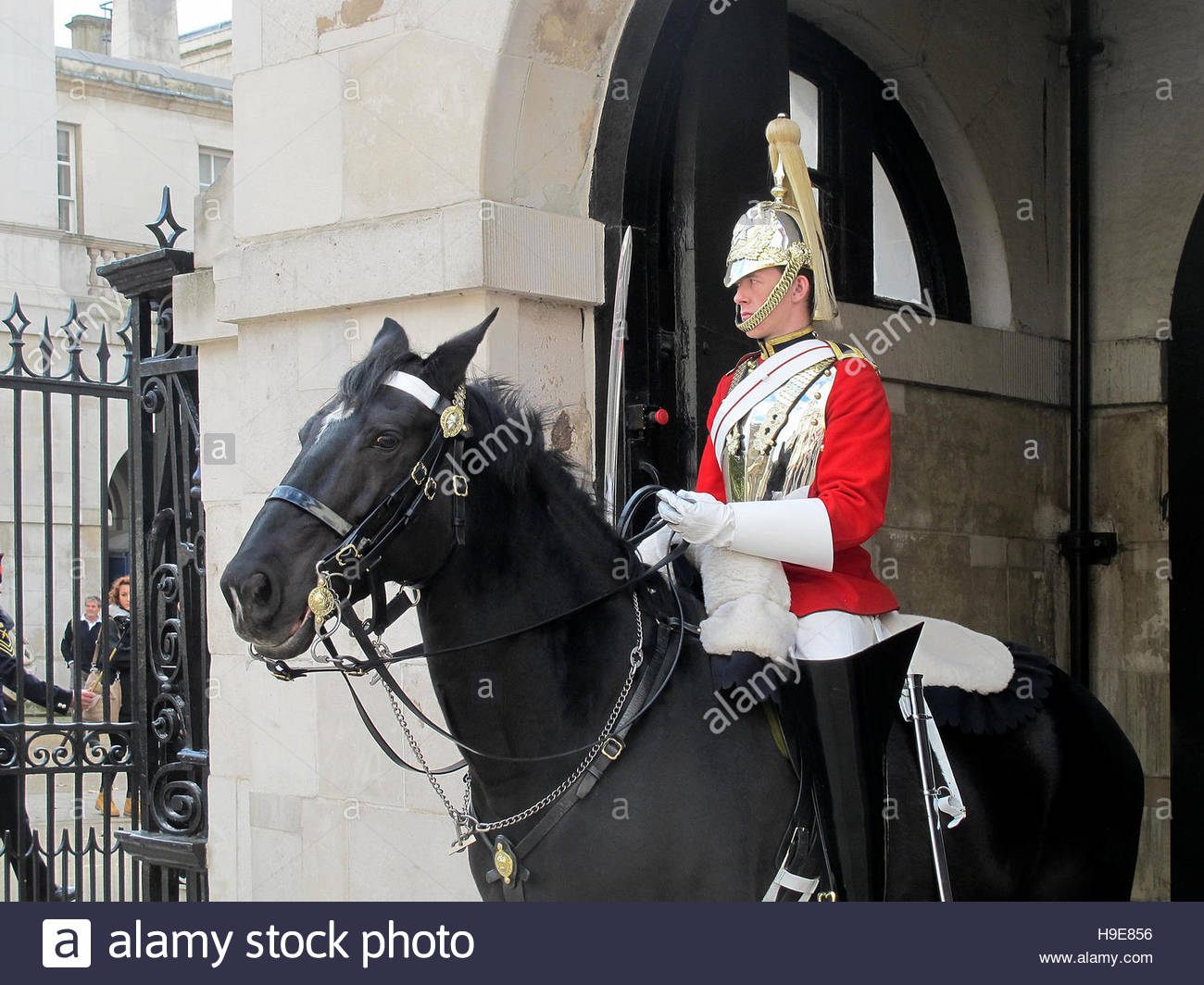LONDON, UK - OCTOBER 2014: The Queen´s Household Cavalry in traditional uniform in St James's Park in London. Stock Photo