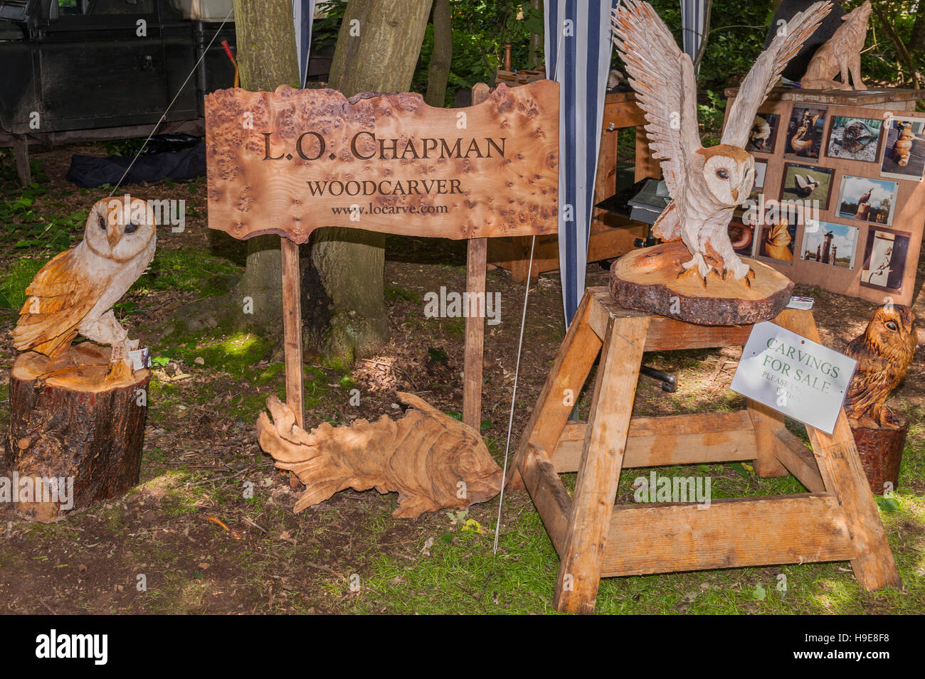 Wood carvings for sale at the Royal Norfolk Show in the Showground , Norwich , Norfolk , England , Britain , Uk - Stock Image