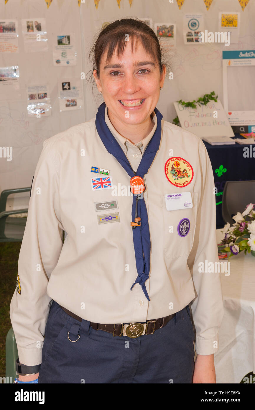 A woman wearing a Norfolk Beaver Scouts uniform at the Royal Norfolk Show in the Showground , Norwich , Norfolk - Stock Image