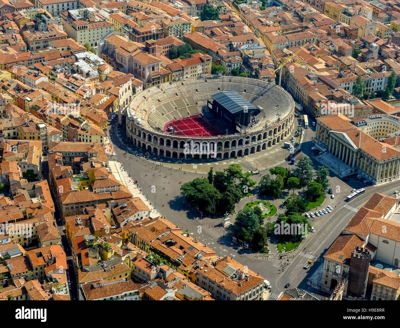 Aerial view, Barbieri Palace, Palazzo Barbieri, Arena di Verona, Piazza Bra, Roman amphitheater, the city center - Stock Image