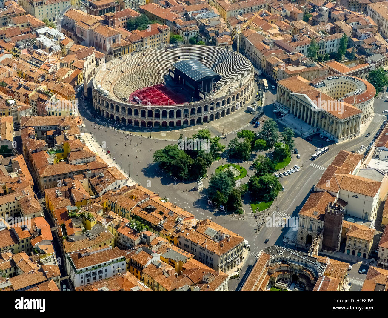 Aerial view, Barbieri Palace, Palazzo Barbieri, Arena di Verona, Piazza Bra, Roman amphitheater, the city center - Stock Image